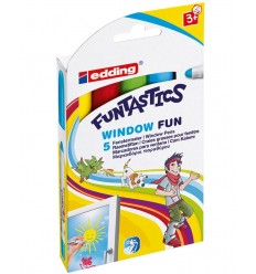 Детские фломастеры меловые для окон Edding 16 FUNTASTICS WINDOW FUN, 2-6мм, 5 цветов