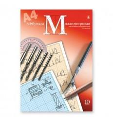 Бумага миллиметровая голубая Альт А4, 80 г/кв.м, 10 листов