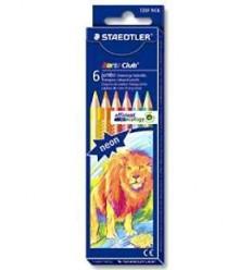 Набор цветных неоновых треугольных карандашей STAEDTLER Noris Club, 6 цветов с точилкой