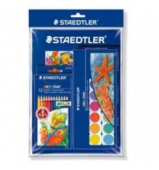 Набор STAEDTLER Noris Club, цветные карандаши 12шт., акварельные краски 12цв, 1 альбом