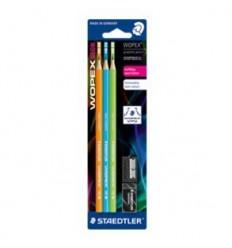 Набор чернографитных карандашей STAEDTLER WOPEX180, НВ, 3шт., ластик, точилка в упак