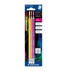 Набор чернографитных карандашей с ластиком STAEDTLER WOPEX182, НВ, 3шт в упак