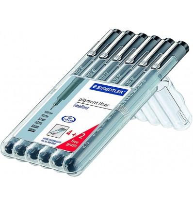 Набор ручек капиллярных STAEDTLER pigment liner 6шт, черные в пенале