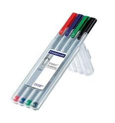 Набор капиллярных ручек STAEDTLER Triplus, 0,3мм, 4 цвета, в пенале-подставка