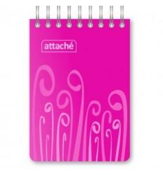 Блокнот клетка Attache Fantasy розовый, А7, 80 листов, спираль сверху