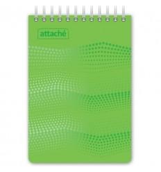 Блокнот клетка Attache WAVES зеленый, А6, 50 листов, спираль сверху