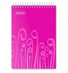 Блокнот клетка Attache Fantasy розовый, А5, 80 листов, спираль сверху