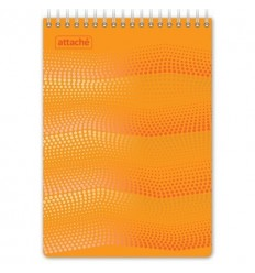 Блокнот клетка Attache WAVES, А5 оранжевый, 50 листов, спираль сверху