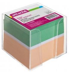 Блок-кубик Attache цветной, 9х9х9, в прозрачном стакане