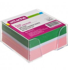 Блок-кубик Attache цветной, 9х9х5, в прозрачном стакане