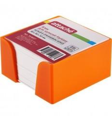 Блок-кубик Attache Fantasy белый, 9х9х5, в оранжевом стакане