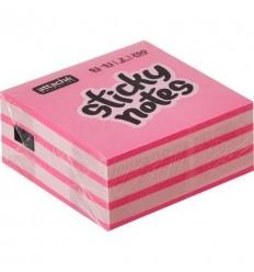 Куб с клейким краем Attache 51х51 мм, розовый неоновый, 5 цветов, 250 листов