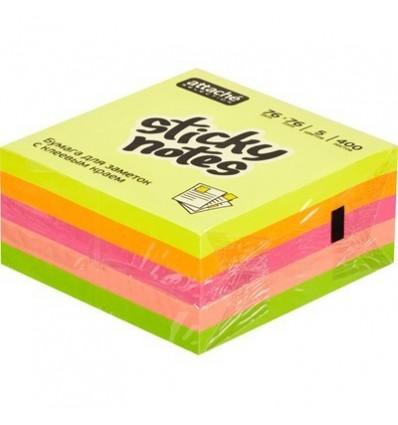 Куб с клейким краем Attache 76х76 мм, неоновая радуга, 5 цветов, 400 листов
