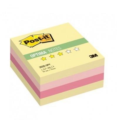 Куб с клейким краем Post-it OPTIMA 76х76 мм, осень, 4 цвета, 400 листов