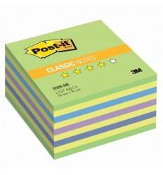 Куб с клейким краем Post-it CLASSIC 76х76 мм, неон зеленый, 5 цветов, 450 листов