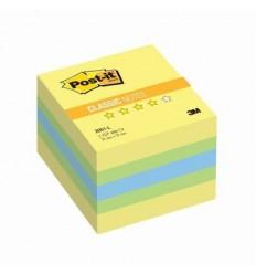 Куб с клейким краем Post-it CLASSIC 51х51 мм, неон лимонный, 3 цвета, 400 листов