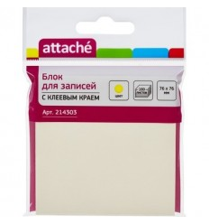 Бумага для заметок Attache 76х76мм, желтая, 100 листов