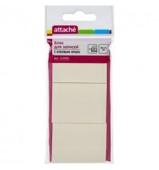 Бумага для заметок Attache 38х51мм, желтая пастель, 3 блокнота по 00 листов