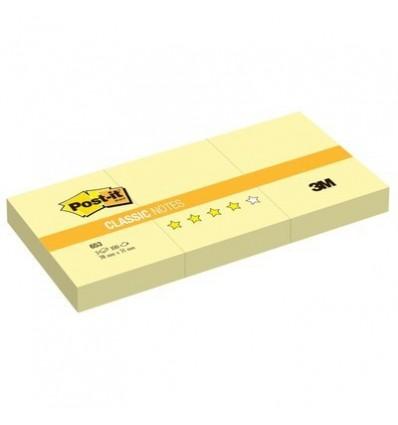 Бумага для заметок Post-it Classic 38х51мм, желтая пастель, 3 блокнота по 100 листов