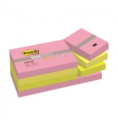 Бумага для заметок Post-it BASIC 38x51мм, неоновая радуга, 2 цвета, 12 блокнотов по 100 листов