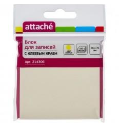 Бумага для заметок Attache Z-сложение 76х76мм, желтая пастель, 100 листов
