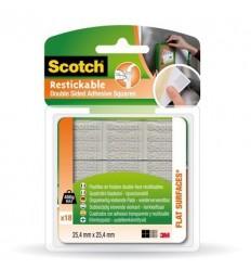 Двусторонние монтажные квадраты 3M Scotch R100, 25.4ммх25.4мм, удаляемые, 18шт