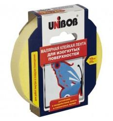 Малярная клейкая лента (бумажная) для изогнутых работ, UNIBOB 19мм х25м