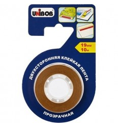 Двусторонняя клейкая лента для бумаги и пленки, UNIBOB 19мм х10м, прозрачная
