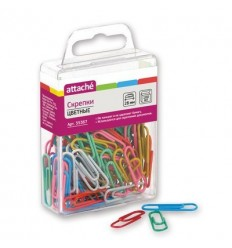 Скрепки цветные металлические Attache 28 мм, 100 шт./уп, пластиковый полимер