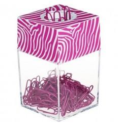 Скрепочница магнитная Attache Selection, пластиковая с розовыми скрепками