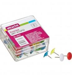 Кнопки канцелярские пластиковые цветные Attache, 50 штук в упаковке