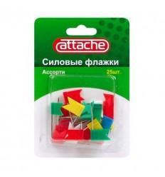 Кнопки силовые Флажки Attache ассорти, 24 мм, 25 штук в упаковке