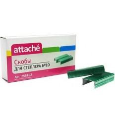 Скобы для степлера № 10 Attache, 1000 штук, зеленые