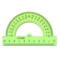 Транспортир СТАММ ТР-01, 180 градусов, 8 см, прозрачный цветной пластик