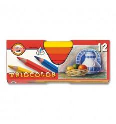 Набор цветных трехгранных карандашей Koh-I-Noor TRIOCOLOR 3152, утолщенный корпус D-10,5мм, 12 цветов