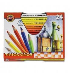 Набор цветных трехгранных карандашей Koh-I-Noor TRIOCOLOR 3153, утолщенный корпус D-10,5мм, 24 цвета