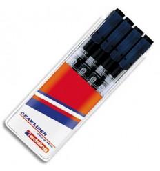 Набор профессиональных фломастеров для черчения Edding 1880 drawliner, пигмен. чернила, 4шт (0.1мм, 0.3мм, 0.5мм, 0.7мм), черный
