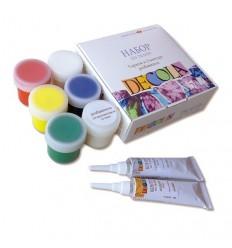 Набор красок и контуров по ткани DECOLA, 5 цветов в банках по 20мл, разбовитель и 2 контура в тюбике по 18мл.