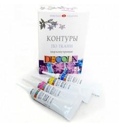 Контуры по ткани перламутровые DECOLA, 4 цвета в тубах по 18мл (желтый, белый, розовый, синий)