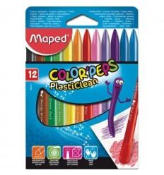 Восковые мелки MAPED COLOR'PEPS PLASTICLEAN, 12 цветов