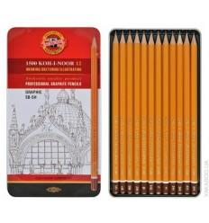 Набор чернографитных карандашей Koh-I-Noor 1500 GRAPHIC, без ластика, 12шт 5H-5В в металлической коробке