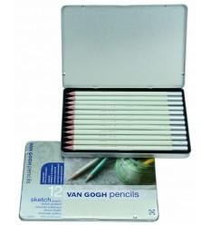 Набор чернографитовых карандашей VAN GOGH для эскизов, 12 типов жесткости H1-9B, в металлической коробке
