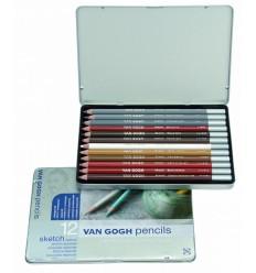 Набор карандашей VAN GOGH sketch для эскизов и скетчей, 12 карандашей в метал. коробке
