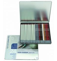Набор карандашей VAN GOGH sketch для эскизов и скетчей, 24 карандаша в метал. коробке