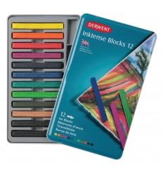 Набор цветных акварельных мелков DERWENT INKTENSE, 12 цветов в металлической упаковке