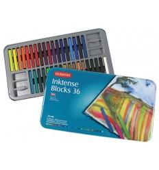 Набор цветных акварельных мелков DERWENT INKTENSE, 36 цветов в метал. коробке
