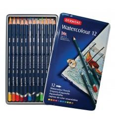 Набор цветных акварельных карандашей DERWENT WATERCOLOUR, 12 цветов в метал. коробке