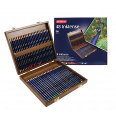 Набор цветных акварельных карандашей DERWENT INKTENSE, 48 цветов в деревянной коробке