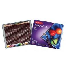 Набор цветных карандашей Derwent COLOURSOFT 24 цвета, в деревянной коробке