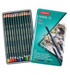 Набор цветных карандашей Derwent Artists 12 цветов, в металлической коробке